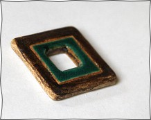 Rustic square green and brown pendant bead